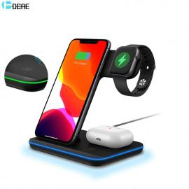 DCAE 15W 3 in 1 Qi Wireless Charger Stand for iPhone StatAirPods Pro for Apple iWatch